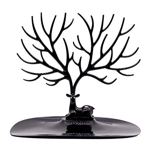 WGGTX Cajas y organizadores de Joya Decoración Almacenamiento Pendientes Anillo Diamante Pintura Cajas Colección Colgante Collar Mano Oído Joyería Caja (Color : Black)