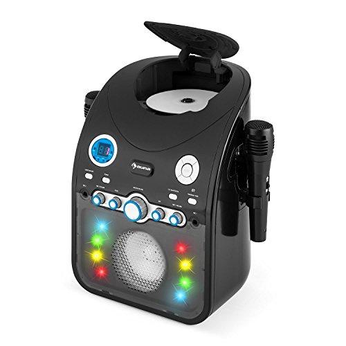 auna StarMaker BK • Kinder Karaoke Anlage • Karaoke Player • Karaoke Set • 2 x dynamische Kabel-Mikrofone • Bluetooth • integrierter Lautsprecher • CD+G-Player • Top Loading • Echo Effekt • A.V.C. Funktion • Video-Ausgang • USB-Port • LED Lichteffekte • schwarz - 8