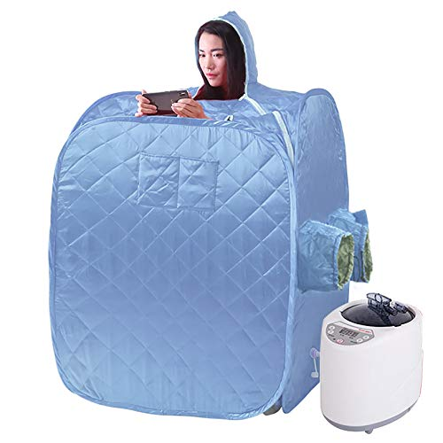 YJF-MRY Steam Sauna - Cabina De Sauna De Vapor Portátil Mini Sauna De Vapor De Cuerpo Completo Móvil, Cabina De Sauna Plegable Personal, SPA En Casa para Bajar De Peso con Control Remoto,Azul