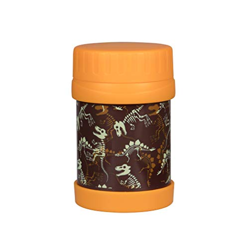 Bentology Stainless Steel Insulated Lunch 13oz Jar for Kids - Dinosaur Fossils - Large Leak-Proof Storage Jar for Hot/Cold Food, Soups, Liquids - BPA Free - Fits Most Lunch Boxes and Bags