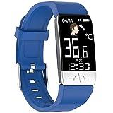 DSY Smartwatch para Medir la Temperatura Corporal, ECG PPG Hrv Health Smart Watch con Calorías Temperatura Temperatura Monitoreo de Ritmo Cardíaco GPS Toma Fotos 16 Funciones, Azul Cron