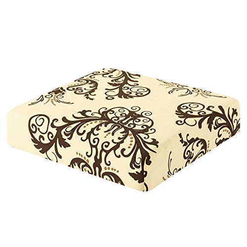 TIKAMI Couch Cover Printed Seat Slipcover Spandex Stretch Elastic Furniture Protector for Sofa Cushion 1 Seater(Coffee)