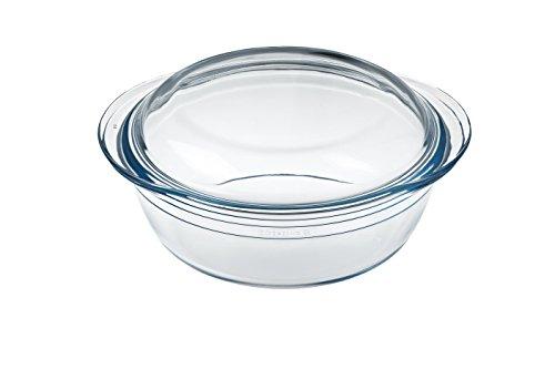 Ôcuisine Classic - Cacerola redonda de vidrio, 1 l, 25,7 x 11,9 x 21,1 cm, color transparente