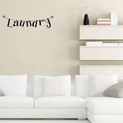 Kafuty Laundry Room Adesivi Murali 1Pc PVC Autoadesivo con Lettere 5.9x23.6 Pollici Decalcomania di Arte Decorazione Domestica Rimovibile per Lavanderia Bagno