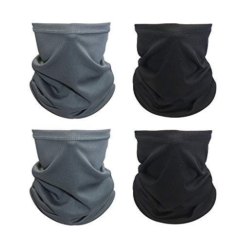 Aotlet Multifunktionstuch Weich Atmungsaktiv Gesichtsmaske Super Elastisch Schlauchtuch Halstuch Stirnband Bandana Neckwarmer Sonnenschutz für Herren Motorrad Laufen Wandern (2*Schwarz+2*Grau)