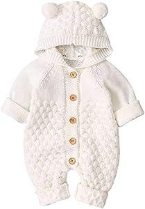 Haokaini Mono de Mameluco de Punto con Capucha de Oreja de bebé recién Nacido Mono para niños niñas (6-12 Mes, Blanco)