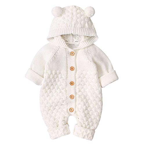 SOONHUA Neugeborene Kapuze Stricken Cartoon Bär Ohr Jumpsuit Kleinkind Overalls Einteiler Bodysuit für Baby Jungen Mädchen Gr. 73 cm, Reisweiß