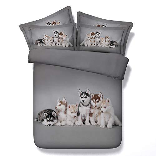 WFBZ Bettwäsche-Sets Bettwäsche 3D Druck Design Bettbezug Und Kissenbezug Hd Digitaldruck Mikrofaser (Husky Hund,135 x 200 cm)