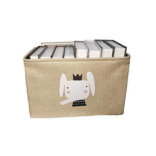 N / A Lino Caja de Almacenamiento Plegable Grande Lindo Animal Cesta de lavandería Manta Ropa Cesta de Almacenamiento de Juguetes Caja de Almacenamiento de Juguetes para niños 38x26x24cm