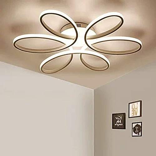 Lighting 93W D74cm-Dimming 3000K-6000K LED Flower Shape Ceiling Light Creative Acrylic Aluminum Lampshade Modern Elegant Matte White Ceiling Lamp Living Room Dining Room Bedroom Ceiling Light Indoor L 7