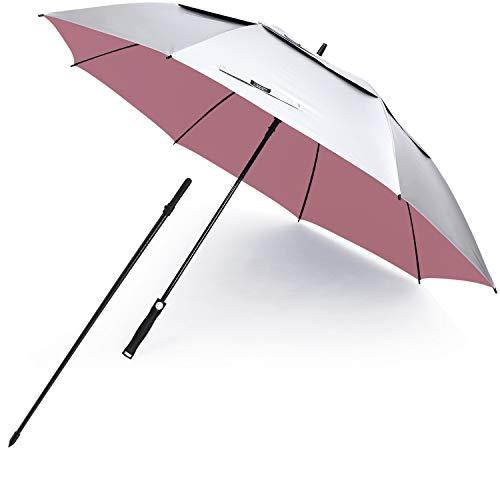 G4Free Belüfteter UV-Golf-/Strandschirm, 172,7 cm Bogen, automatisches Öffnen, Übergröße, extra groß, winddicht, Sonnenschutz Regenschirme (Silber/Rosa)