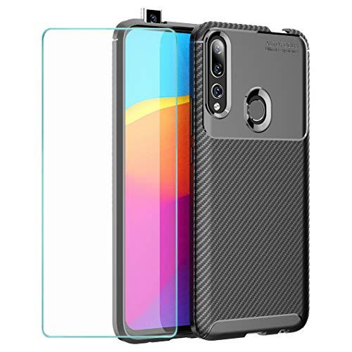 Wanxideng - Coque pour Honor 9X/Huawei P Smart Z + Protection d'écran en Verre Trempé, [Texture de Fibre de Carbone] ÉtuiArmure Robuste Housse en Silicone TPU Doux Mince - Noir