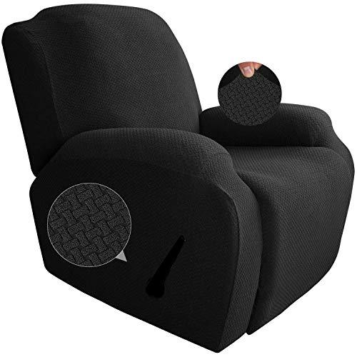 GYHH Neueste 4-teilige Strech Recliner Überzug Sessel Husse Relax Fernsehsessel Relaxstuhl Sesselbezug Für Liegestuhlschutz Mit Tasche (Black)