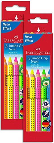 Faber-Castell 110994 - Buntstifte Jumbo Grip Neon, 5er Etui (2 Packungen, Buntstifte)