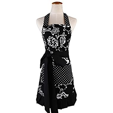 Surblue Plus Size Retro Vintage Women Cute Black Apron Two Pockets 100% Organic Cotton Extra-long Tie Kitchen Apron for Baking Cooking Gardening 29 x 21 inch