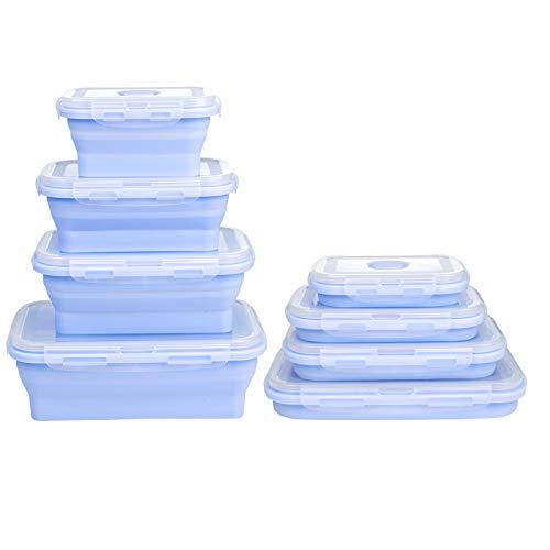 WolinTek Set de 4 recipientes de Silicona Plegable,Fiambrera de Silicona Plegable Silicona Recipientes de Silicona Plegable Almacenamiento de Alimentos caja de almuerzo (azul)