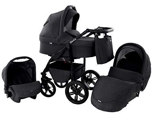 Kinderwagen Babywagen Kombikinderwagen Zeo Wind 3 in 1 Komplettset mit Zubehör 0-3 Jahre 0-15 kg Insektenschutz Einkaufstasche Regenschutz Getränkehalter Buggy Autositz (52)