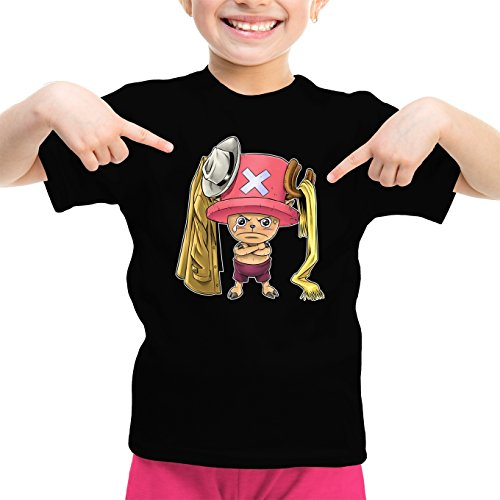 T-Shirt Enfant Fille Noir One Piece parodique Tony Tony Chopper : Etendage Pirate : (Parodie One Piece)