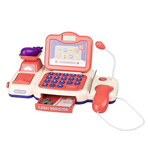 QuRRong Caja Registradora de Juguete Niños Supermercado Pretend Play Simulation Cash Register Juguetes con Micrófono Niños Niños Educación Educativa Regalo 13pcs para Niñas Niños Pequeños