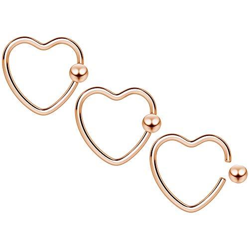 3pc 16g 1.2mm Heart Hoop Earring CBR Captive Bead Rings Cartilage Bar Daith Rook Helix Auricle Rose Gold BCR