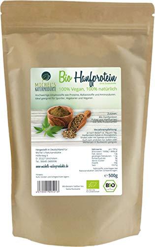 Michel´s Naturprodukte - BIO Hanfprotein mit 50% Proteingehalt, 500g Beutel, Veganes Hanfproteinpulver ohne Zusatzstoffe, Rein Pflanzliches Eiweißpulver aus Hanfsamen, Hanfpulver