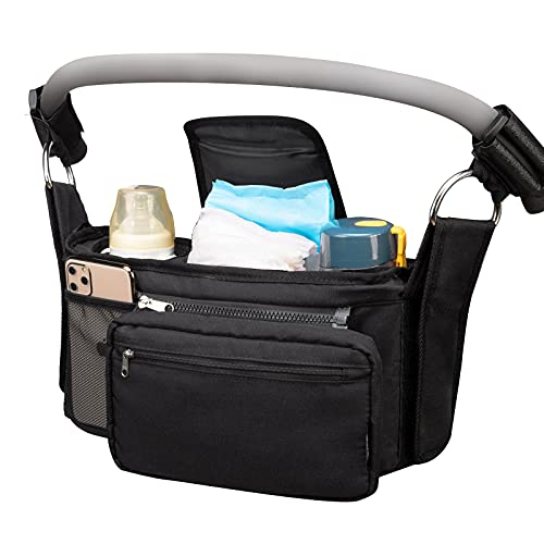 Vorspack Stroller Organizer with Cup Holder Insulated Stroller Caddy Anti-slip Stroller Storage Bag with Adjustable Shoulder Strap Universal Fit Strollers - Black