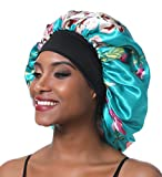 SENGTERM Large Satin Bonnet Sleep cap Hair Bonnet Silky Cap Wide Elastic Band for Women Curly,Braids, Dreadlocks, Long Hair (XL, Green flower)