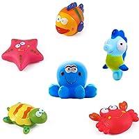 Yojoloin Juguetes de baño Peces, Estrellas de mar, caballitos de mar (6PCS), Juguetes de baño Suaves, Juguetes de baño con Criaturas Marinas, Juguetes de baño para niños