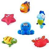 Giocattoli da bagno Galleggianti da bagno per pesci, stelle marine, cavallucci marini (6PCS), giocattoli da bagno morbido, giochi da bagno con creature marine, il bagno Giocattoli per bambini piccoli