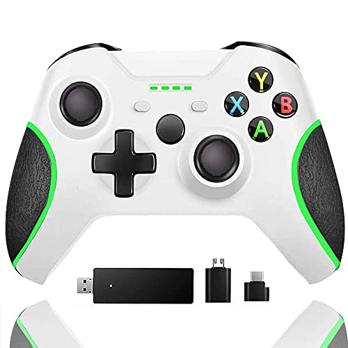 Wireless Controller for Xbox one, Built-in Dual Vibration 2.4HZ Gamepad Compatible with Xbox One/One S/One X/One Elite/ PS3/ Windows 10(White)