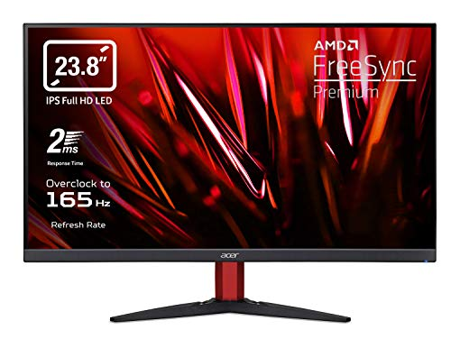 Acer Nitro KG242YPbmiipx Gaming Monitor FreeSync Premium 23.8 Zoll IPS FHD Display, 165Hz Overclocking, 2ms, HDMI (2.0), DP (1.2), Lum 250 cd/m2, ZeroFrame, Audio Out, integrierte Lautsprecher