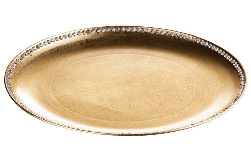 Premier Housewares 1403750 Plat de Service Décoratif avec des Diamants dans le Bord Ore