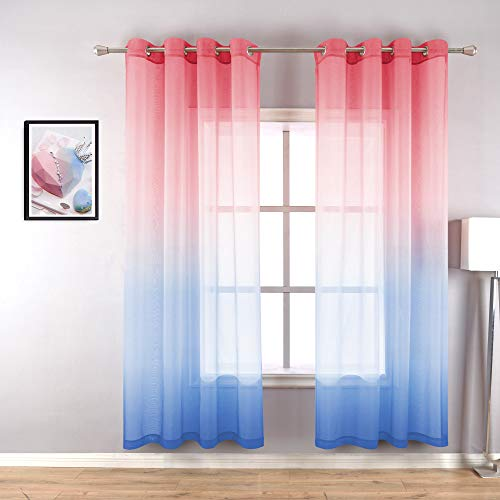 Blush Pink and Blue Curtains for Girls Bedroom Decor Set of 2 Panels Grommet Sheer Window Voile Ombre Hippie Curtains for Girls Room Decorations 52 x 84 Inch Length