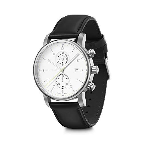 Wenger Urban Classic - Reloj cronógrafo para hombre, fabricado en Suiza, esfera blanca y correa de piel negra 01.1743.123