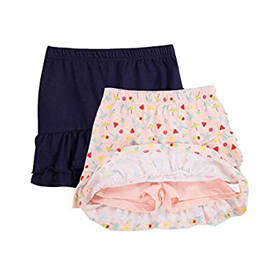 UNACOO 2 Packs 100% Cotton Tiered Ruffle Skirt with Elastic Waistband for Girls(Pink Printed+Navy, m(7-8 Years))