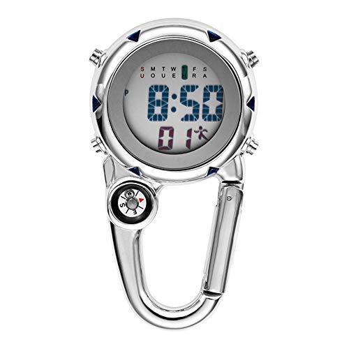 Rawisu Quarz Taschenuhr Mit Karabiner Befestigung, Für Ärzte, Krankenschwestern, Digitalanzeige leuchtender elektronische Taschenuhr Chronograph Wecker Kompass für Kletteraktivitäten im Freien