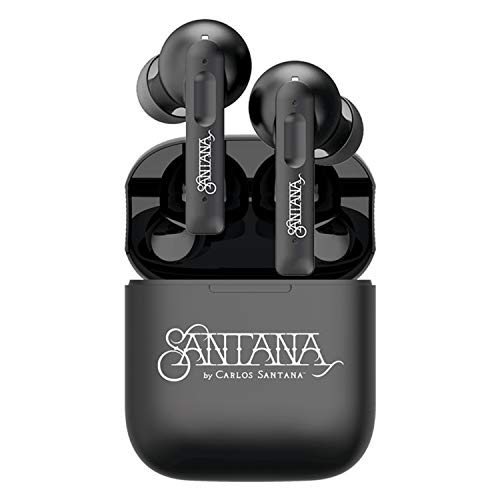 Santana by Carlos Santana Vida Active Noise Cancelling Earbuds - True Wireless Bluetooth Earbuds with Charging Case - Black