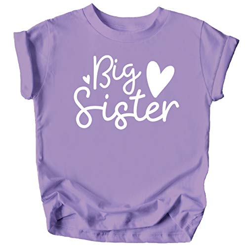 Cursive Big Sister Hearts Sibling Reveal T-Shirt for Baby and Toddler Girls Sibling Outfits Purple Shirt