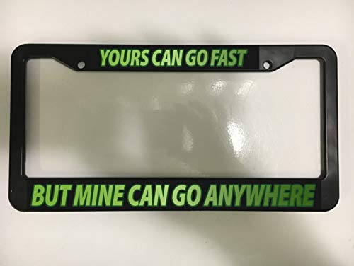 Yours Fast - Go Anywhere 4x4 Jeep Lifted Off Road Chevy License Plate Frame New Auto Car Novelty Accessories License Plate Art
