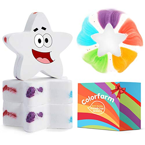 Rainbow Bath Bomb Gift Set3 pcs Star Bath Bombs with Fizzy Rainbow BubblesampRich in Essential OilSuitable for Aromatherapy Relaxation Soak Great for ValentineBirthday Gifts
