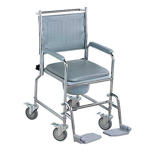 NRS Healthcare M66119 Wheeled Commode/Over Toilet Chair with Padded Seat and Back - Height Adjustable (Eligible for VAT Relief in The UK)