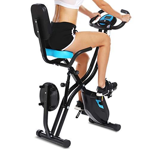 ANCHEER Bicicletta per Esercizio 10 Livelli di Resistenza Magnetica e Sedile Ampio e Confortevole, da Interni, Cyclette Pieghevole da Fitness Supporto per Tablet e Monitor Digitale (Nero+blu (Tipo 1))
