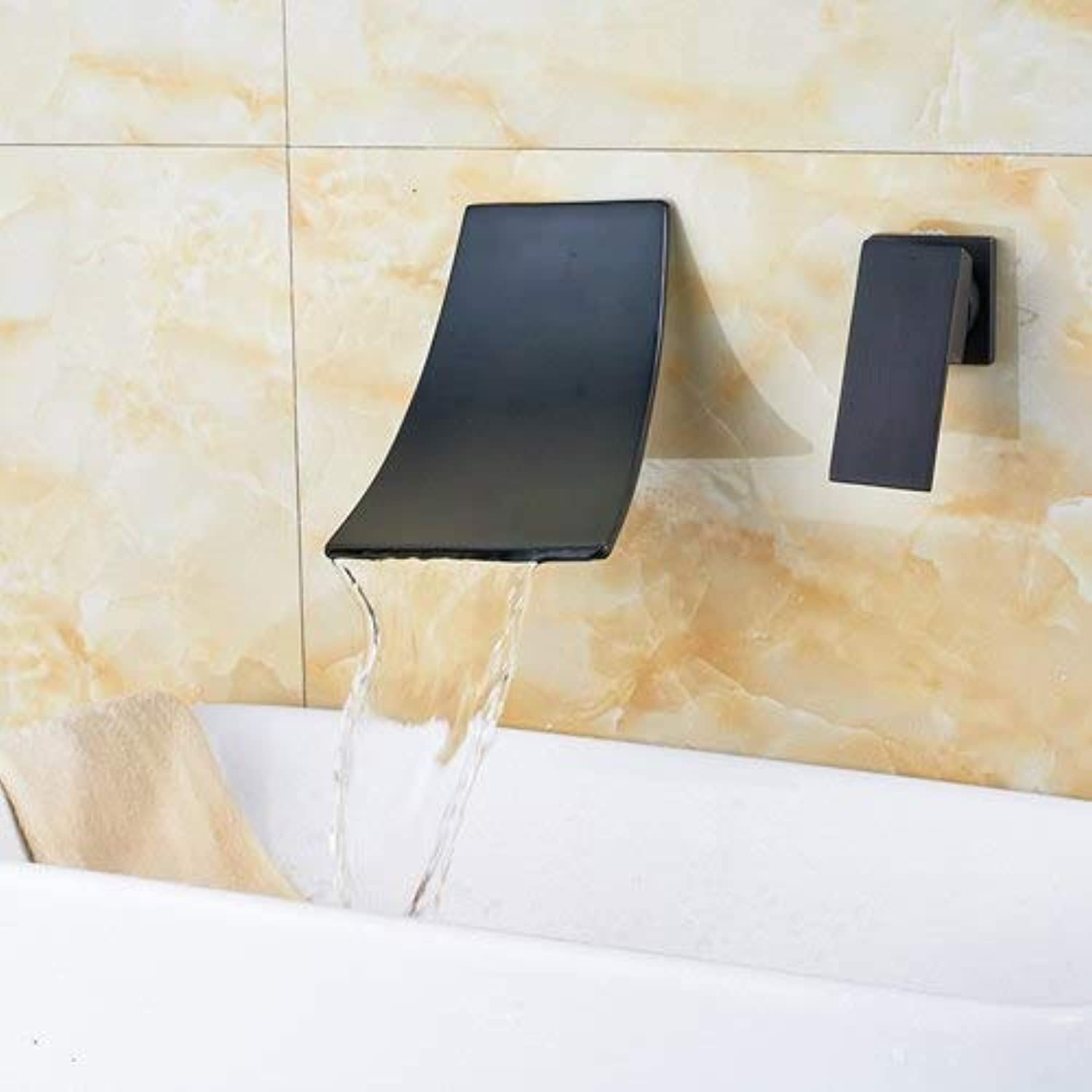 U-Enjoy Chandelier Types Water 3 Taps Arrival Top Quality Bathroom New Faucet with Waterfall Spout Oil Rubbed Widespread Bronze Free Shipping [Black 2]