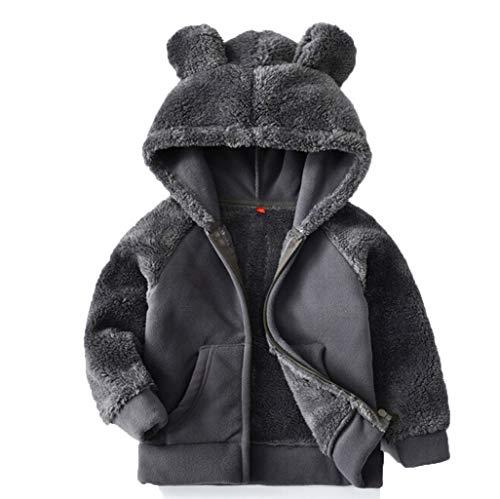 Harpily Felpe Bambino Inverno Giacca Pelliccia Ecologica Felpa Bambino 2 Anni Parka Bimbo on Cappuccio Cappotto Ricamato Cappotto