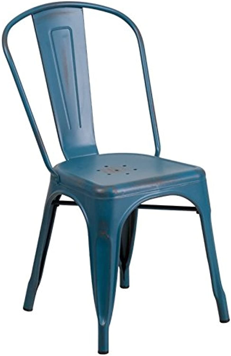 Bowery Hill Metal Dining Chair in Distressed Kelly bluee