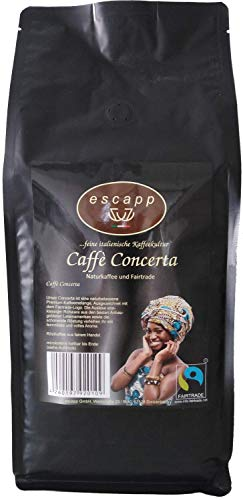 Kaffee escapp Caffè Concerta, Fairtrade, 80% Arabica / 20% Robusta, Espresso, 1000 Gramm, ganze Bohnen