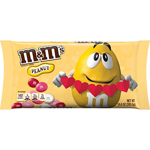 M&M'S Peanut Chocolate Valentine's Day Candy, 10-Ounce Bag