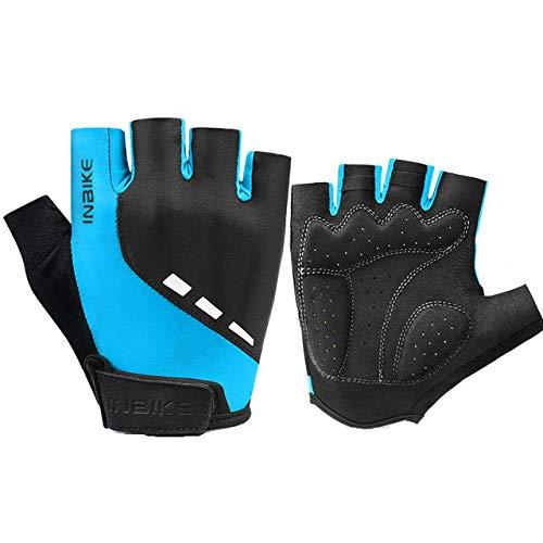 Halbe Finger Fahrradhandschuhe reflektierende atmungsaktive Motorrad Mountainbike Rennrad Handschuhe Sommer Männer und Frauen Sport Fahrrad Handschuhe - Blau, XXL
