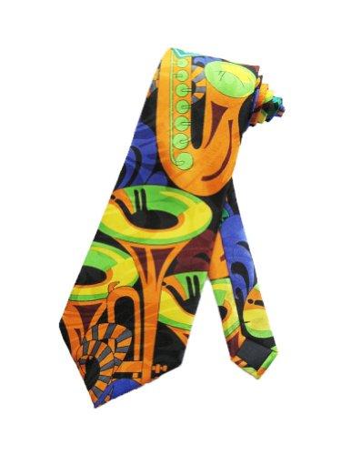 Steven Harris Mens Bourbon Street Jazz Music Necktie - Blue - One Size Neck Tie