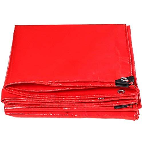 XBSXP Cubierta de Lona Impermeable de PE roja, Resistente, con Ojales, Plegable, Resistente a la Lluvia, para Muebles de jardín, aparador, trampolín, Madera (tamaño: 6x8m / 19.7x26.2ft)